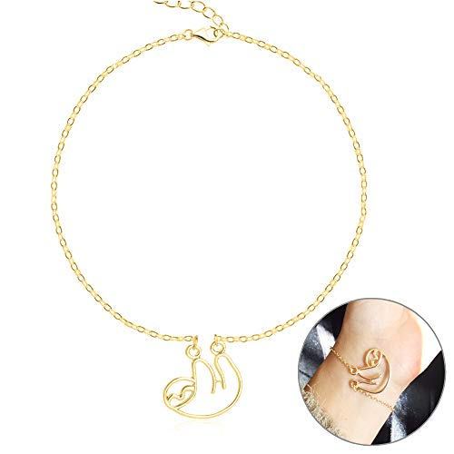 Animal Gold Charm Bracelet - MUZHE Gold Silver Sloth Charm Necklace - Stylish Cute Animal Peandant Jewelry (Hollow Gold Bracelet)