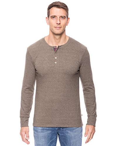 Noble Mount Men's Soft Brushed Rib Henley - Heathered Olive - X-Large