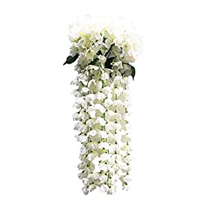 Pstars Hanging Flowers Artificial Violet Flower Wall Wisteria Basket Hanging Garland 82