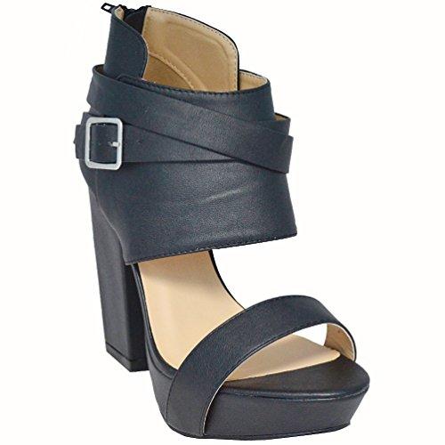 Adriana Women's Sela-10 Open Toe Strappy Platform Heels, Black
