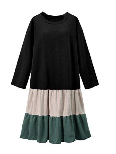 Women Blouses Coolred Baggy Black Color Shirt Contrast Size Flouncing Plus Dress 4AfZTd