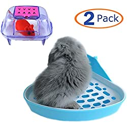 Pet Toilet Litter Tray Corner for Small Animal,Hamster Sand Bathroom for Hamster Gerbil Bunny Chinchilla(Pack of 2)