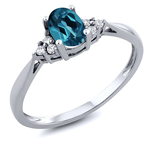 Gem Stone King 14K White Gold London Blue Topaz and Diamond Women s Ring 0.56 cttw Available 5,6,7,8,9