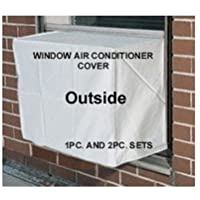PremierAcCovers Heavy Duty Window Air Conditioner Cover - Window/thru Wall - 2PC SET Outdoor/Indoor 21W, 15H, 15D 21W, 15H, 4D - GRAY