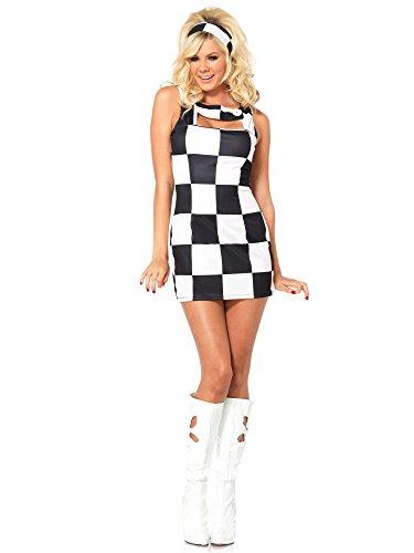Trippy Costumes (Leg Avenue Women's 2 Piece Trippy Trixie Retro Costume, Black/White, Small/Medium)