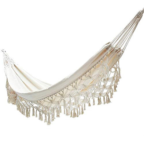 Longshow tassel hammock Bohemian fringed hammock Double Hammock - Two Person Bed for Backyard, Porch, Outdoor and Indoor Use - Soft cotton cloth for Supreme Comfort ()