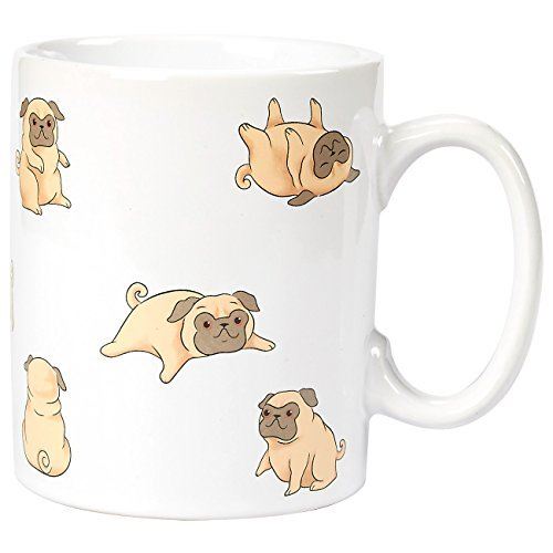 (Ceramic Coffee Mug with Handle - Smiley Pug Dog Design, Large Stoneware Tea Cup for Pet Lovers, Novelty Gift for Birthday, Friends, Lovers, White, 16 Ounces)