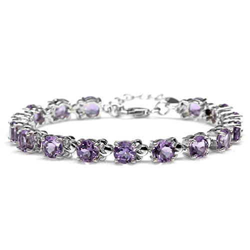 12.8ct. Natural Amethyst White Gold Plated 925 Sterling Silver Leaf 6.5-8 Inch Adjustable -