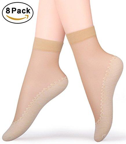 CHRLEISURE+Women%27s+8+Pairs+Anti-Slip+Silky+Cotton+Sole+Sheer+Ankle+High+Tights+Hosiery+Socks%2C8+Pairs+Skin%2COne+Size