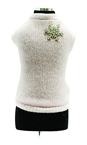 Trilly tutti Brilli Loup Wool Sweater with Crystal Snowflake Brooch, Pink, X-Small