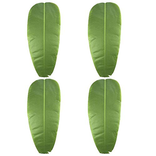 Alapaste 4PCS Greenery Fake Faux Artificial Banana Leaves Single Leaf,Table Placement Dinning Mat,Tropical Leaves Decorations for Luau Party Supplies