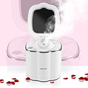 KINGDOMCARES Warm Mist Moisturizing Facial Steamer Unclogs Pores Clear Blackheads Suction Face Hydration Atomizer Salon Skin Care Sauna SPA Acne Humidifier Steamer with Makeup Mirror