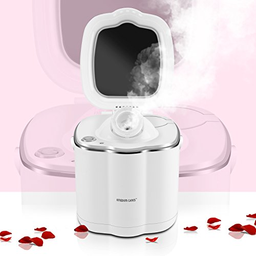 Price comparison product image KINGDOMCARES Warm Mist Moisturizing Nano Ionic Facial Steamer Unclogs Pores Clear Blackheads Suction Face Hydration Atomizer Salon Skin Care Sauna SPA Acne Humidifier NanoSteamer with Makeup Mirror