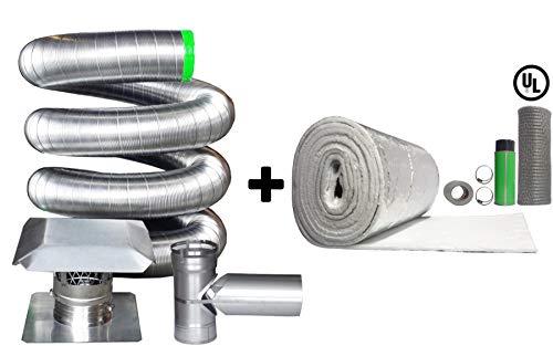 Rockford Chimney Supply Stainless Steel Flexible Chimney Liner Tee Kit, 4 inch x 30 Feet Blanket Insulation Kit (Flexible Flue Liners)