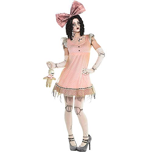 amscan Pink Creepy Doll Halloween Dress for Women, One -