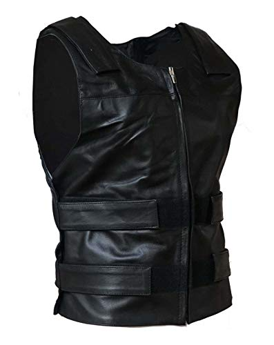 IKleather Mens Bullet Proof style Leather Motorcycle Vest for bikers Club Tactical Vest (XL, ()