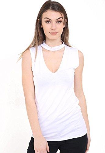 silva & sons - Camiseta sin mangas - para mujer blanco