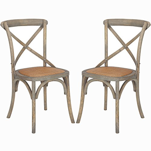 Poly and Bark Cafton Crossback Chair in Weathered Oak (Set of 2) (Rattan Poly Wicker)