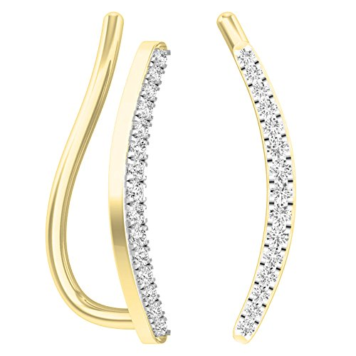 Dazzlingrock Collection 0.10 Carat (ctw) 18K Round White Diamond Ladies Crawler Climber Earrings 1/10 CT, Yellow Gold