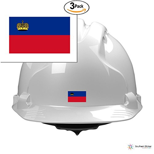 (3) country flag Liechtenstein 2x1 size - funny stickers for construction hard hat pro union working men lunch box tool box symbol window motorcycle biker car - Made and shipped in USA