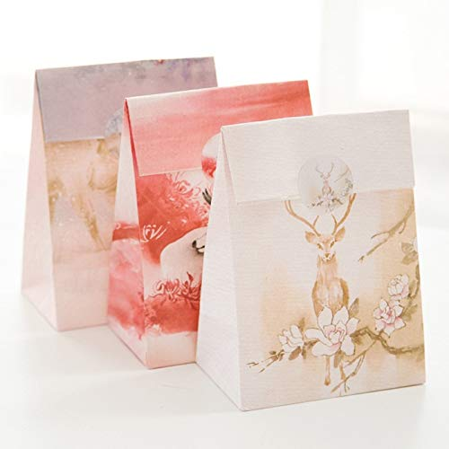 (9 Sets Paper Bag Winter Reindeer Dream Design Gift Packaging Birthday Party Candy)