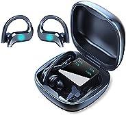 Fone de ouvido POTIPO sem Fio Bluetooth, fones de ouvido Bluetooth com tela LED, ganchos sobre a orelha Baixo