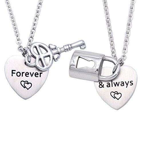 Melix Couples Necklace Set for Boyfriend and Girlfriend with Lock and Key Charms - Couples Jewelry - Best Friend Necklaces]()