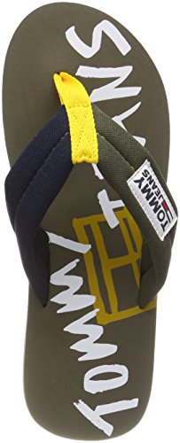 Tommy Jeans Men's Tj Graphic Print Beach Sandal Flip Flops Green (Dusty Olive-jeans-tango Red 901) hHljf9C6nA