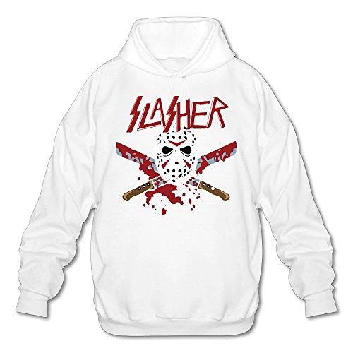 Jason The Slasher Men's Fleece Hoodie Adult Sweater White S (University Halloween Syracuse Ny)
