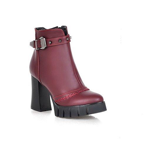 AllhqFashion Damen Rein Hoher Absatz Rund Zehe Reißverschluss PU Leder Stiefel, Rot, 40