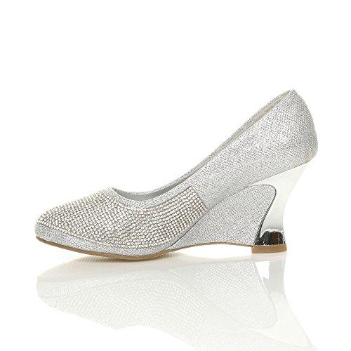 Ajvani - Zapatos de vestir para mujer, color plateado, talla 41