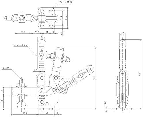 KAKUTA HV 450-2S Holding Capacity 496 lbs Vertical Handle Stainless Steel (207-USS)