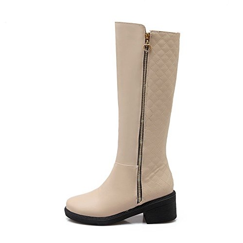 AmoonyFashion Womens Kitten-Heels Solid Closed Round Toe Soft Material Zipper Boots Beige X7Dz6rN3E