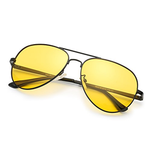 Classic Aviator HD Polarized Night Vision Metal Frame for Driving Sun Glasses (Night vision - What Of Kind Sunglasses