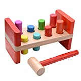 VIAHART Classic Wooden Hammer Pounding Bench with 8 Colorful Pegs for Baby Kids Toddlers | Develops Hand-eye Coordination and Fine Motor Skills