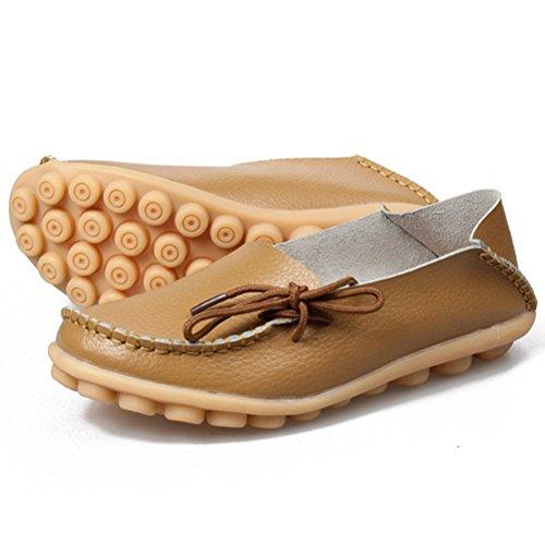 MatchLife Damen Vintage Leder Flach Pumpe Casual Schuhe Khaki