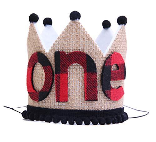 Birthday Check - 1st Birthday for Lumberjack Crown - Buffalo Plaid Burlap First Birthday Crown - Buffalo Check Plaid Party- Stiffened Burlap Crown Hat-Wild One (1st Birthday Lumberjack Crown)