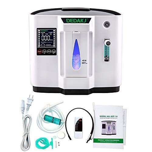 HUKOER Oxygen Concentrator, 1-6L/min Adjustable Portable Oxygen Machine for Home and Travel Use, AC 110V Humidifiers ()