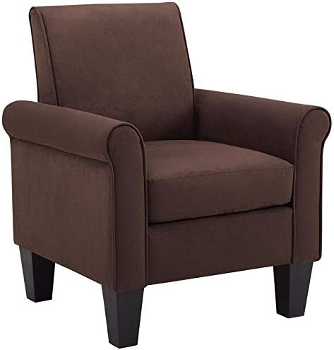Lilola Home Angelo Chocolate Microfiber Fabric Armchair