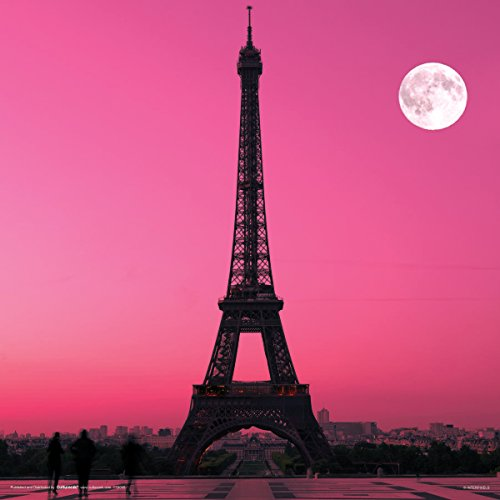 - Culturenik Paris France Eiffel Tower Pink Moon Decorative City Travel Photography Print (Unframed 12x12 Poster)