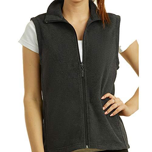 DailyWear Womens Full-Zip Plush Polar Fleece Vest (Charcoal Grey, (Full Zip Polar Fleece Vest)