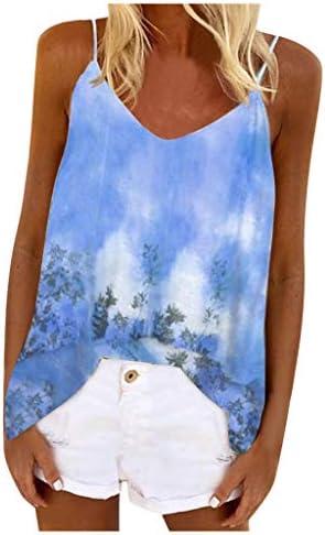 Memela Women V Neck Strappy Tank Tops Boho Printed Sleeveless T-Shirt Causal Loose Cami Summer Beach Vest Camisole Blouse