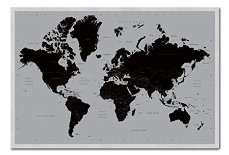 World map poster contemporary black grey style magnetic notice world map poster contemporary black grey style magnetic notice board silver framed 965 x gumiabroncs Image collections
