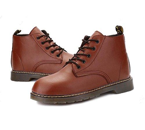 cargadores ocasionales de los nuevos hombres se deslizan los zapatos resistentes al grueso de la moda de los hombres de marea utillaje Martin botas de Inglaterra Brown