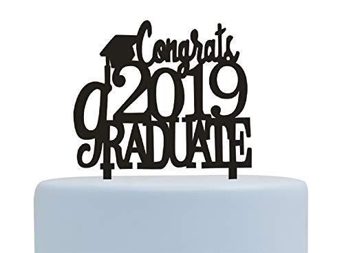 Congrats 2019 Graduate Cake Topper-Graduation/Grad Party Decoration (Black)