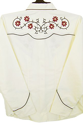 Modestone Women's Embroidered Long Sleeved Western Camisa Vaquera Floral Rhinestones Beige