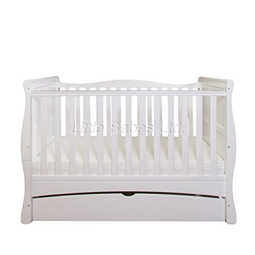 New Baby White Sleigh Mason Cot Bed with Drawer & High Density Foam...