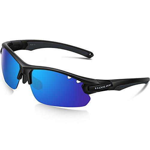 Woolike Sports Sunglasses Polarized Glasses For Women Man Cycling Running Fishing Golf Outdoor W-505 (Black&black tips&blue - C3 Rims