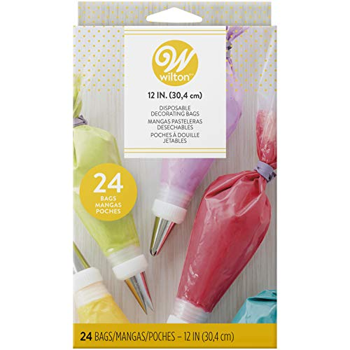 Wilton 12-Inch Disposable Decorating Bags for Piping and Decorating with Assorted Icings, Flexible and Microwave-Safe, Bags Only (24-Count)