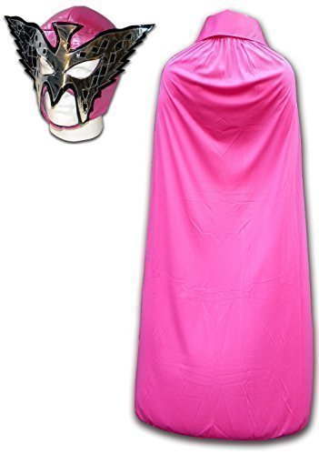 WRESTLING MASKS UK Men's Princess Sugey - Wrestling Outfit Mask And Cape One Size Pink